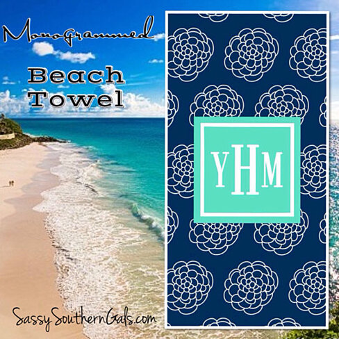 Buy monogrammed beach towel personalized beach towel for Design your own beach house