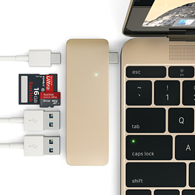 Satechi Type-C Pass Through USB Hub with USB-C Charging Port (Gold)