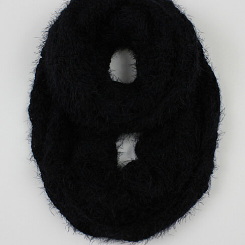 Infinity Scarf Knitting Pattern Mohair : Buy Black Solid Cable Knit Eyelash Mohair Fashion Infinity ...