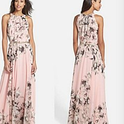 peach floral maxi with belt