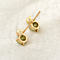 "18k yellow gold overlay sterling silver 1.25ct CZ Diamond ""D"" stub earrings"