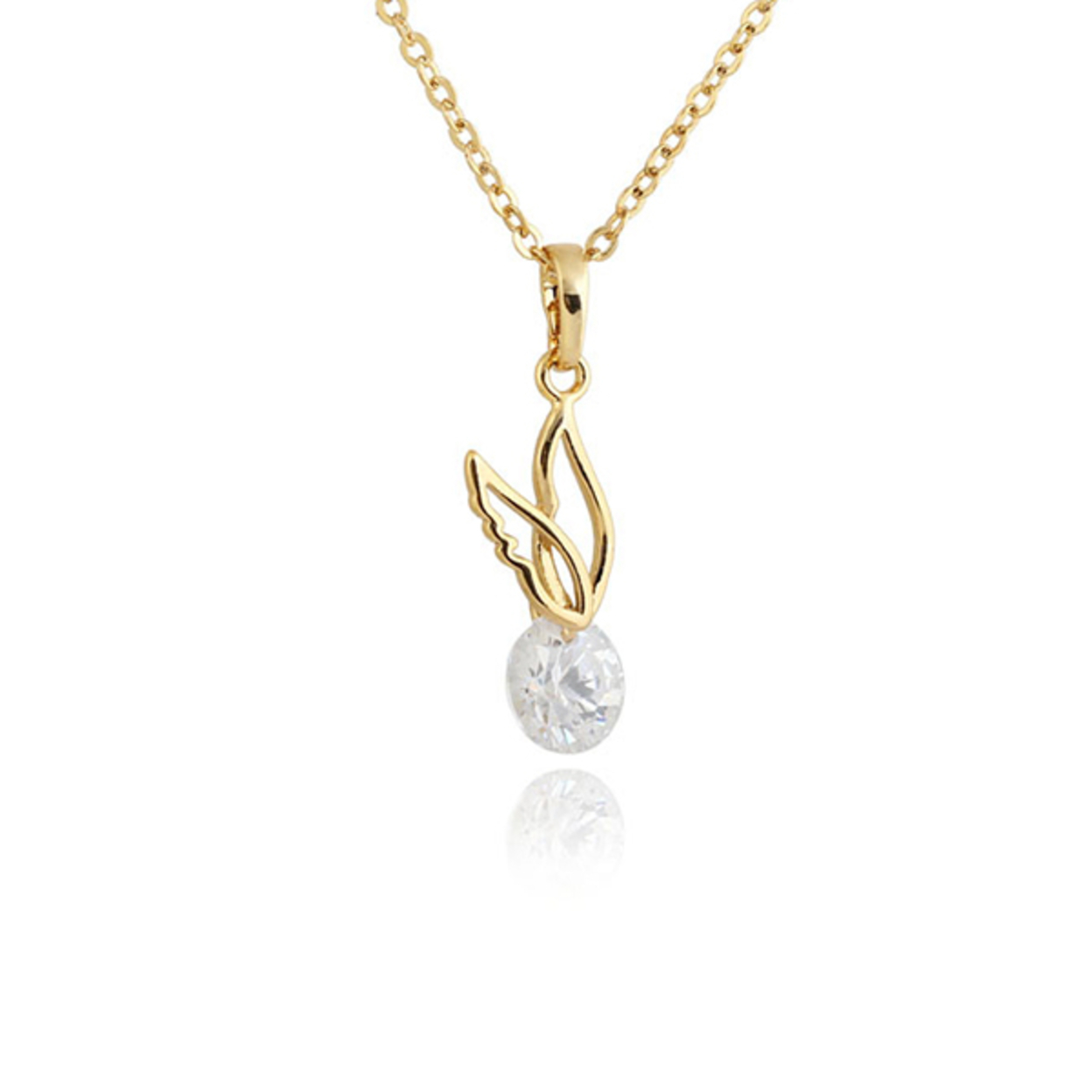 24k Yellow Gold Overlay Sterling Silver 1.5ct Round Cz Diamond Simple Wing Pendant Necklace