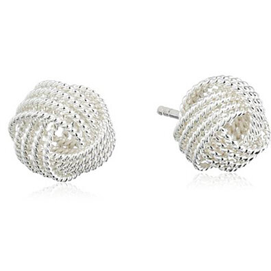 Amazing sterling silver mesh love knot stub earring