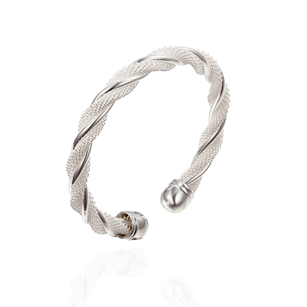 S925 Sterling Silver Simple Twist Bangle