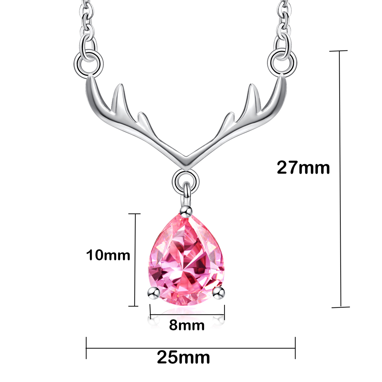 "Sephla 925 Sterling Silver Antlers Pendant Necklace,made With Aaa Pear Shape Cz Diamond,18"" Pink"