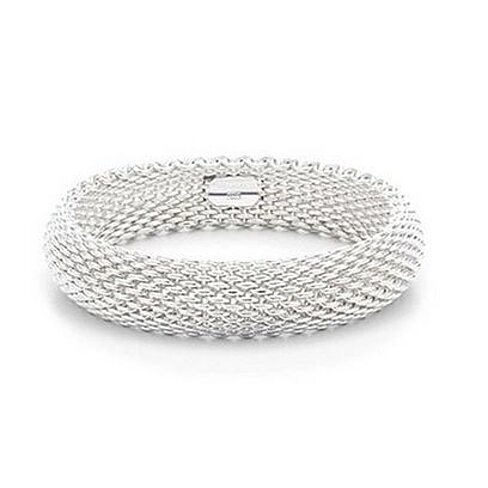 Sephla 925 Sterling Silver Plated Woven Mesh Silky Chains Bracelet