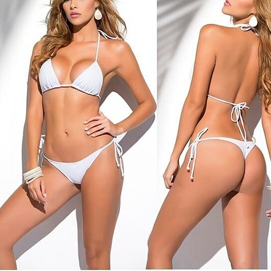 f23e550f14b7 Buy Solid White Classic Thong Bikini Women s Swimwear Summer Beach String  Bikinis Sexy Female Bathing Suit Multi Color Swimsuit 1667 by  SerenityBoutique on ...