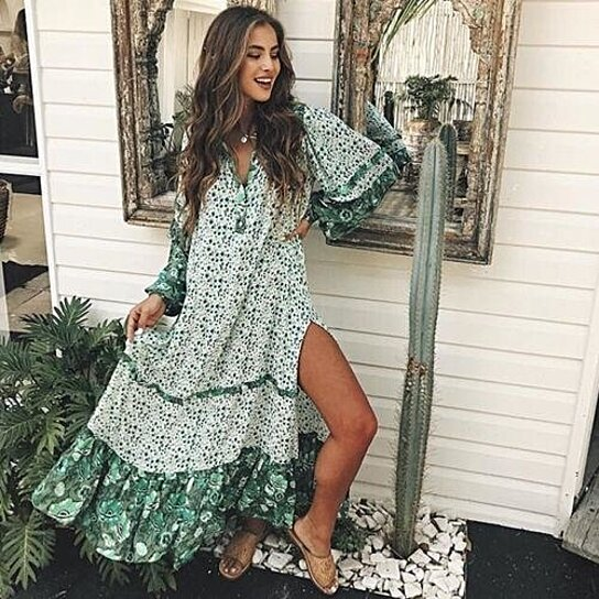 7bf4529ae5 Buy Women Boho Floral Print Beach Dresses V-neck Lady Evening Party Summer  Green Long Sleeve Long Maxi Dress by SerenityBoutique on OpenSky