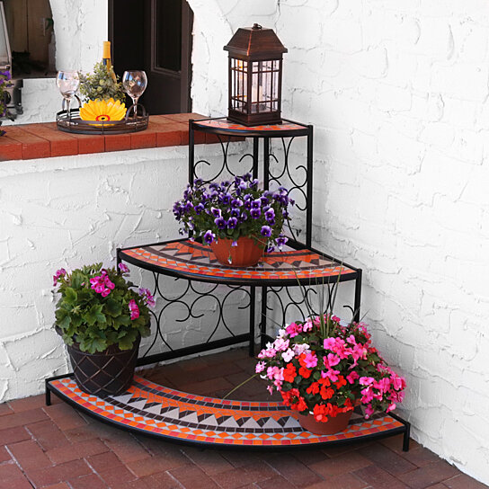 Buy Sunnydaze 3 Tier Mosaic Tiled Indoor Outdoor Corner Display Shelf Stand For Plants And Decor 40 Inch Tall By Serenity Health Home On Dot Bo
