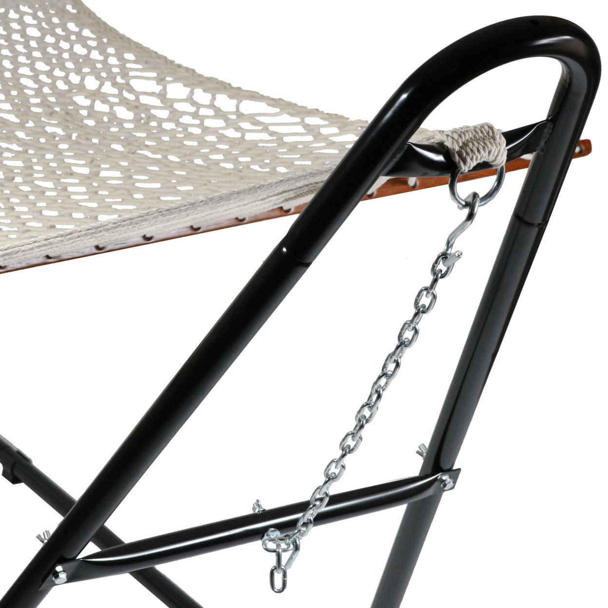 Sunnydaze Cotton Double Wide 2-Person Rope Hammock with Spreader Bars and Multi-Use Steel Stand, 440 Pound Capacity 58bdeb2a2a00e4769755a94f