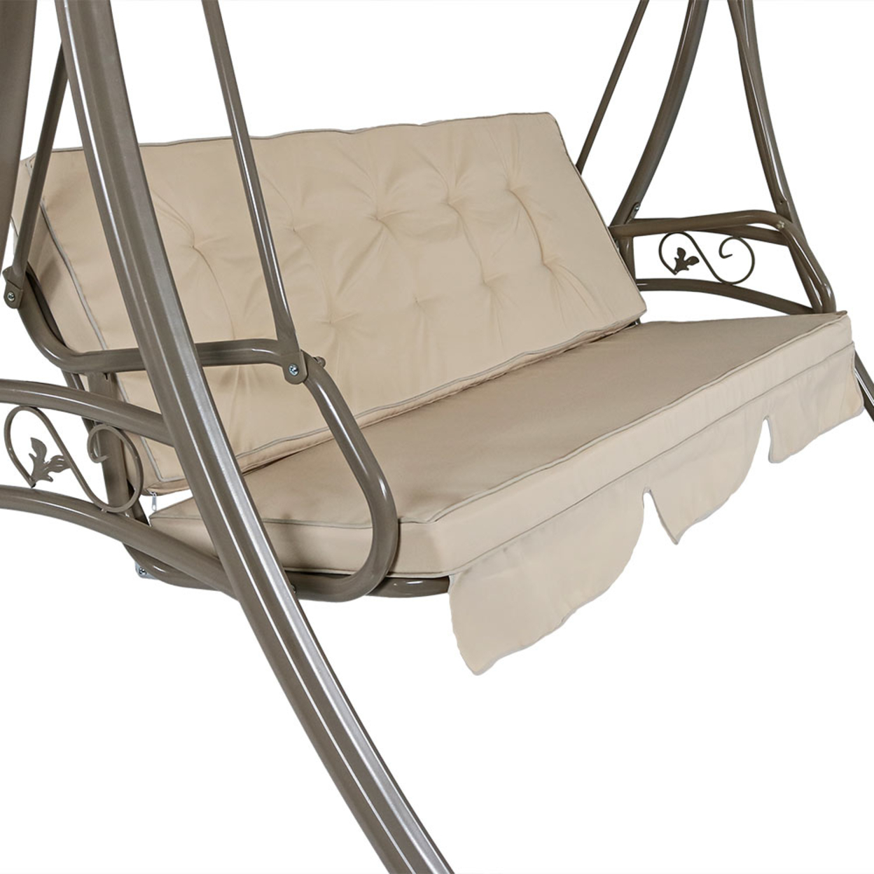 Sunnydaze Deluxe Patio Swing with Heavy Duty Steel, Frame, Beige Cushions and Canopy, Seats 3 People, for Patio, Porch or Yard, 600 Pound... 593ba8592a00e479ef2ed0a8