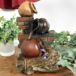 Sunnydaze Rustic Brick Wall And Jugs Tabletop Fountain With LED Light 105 Inch