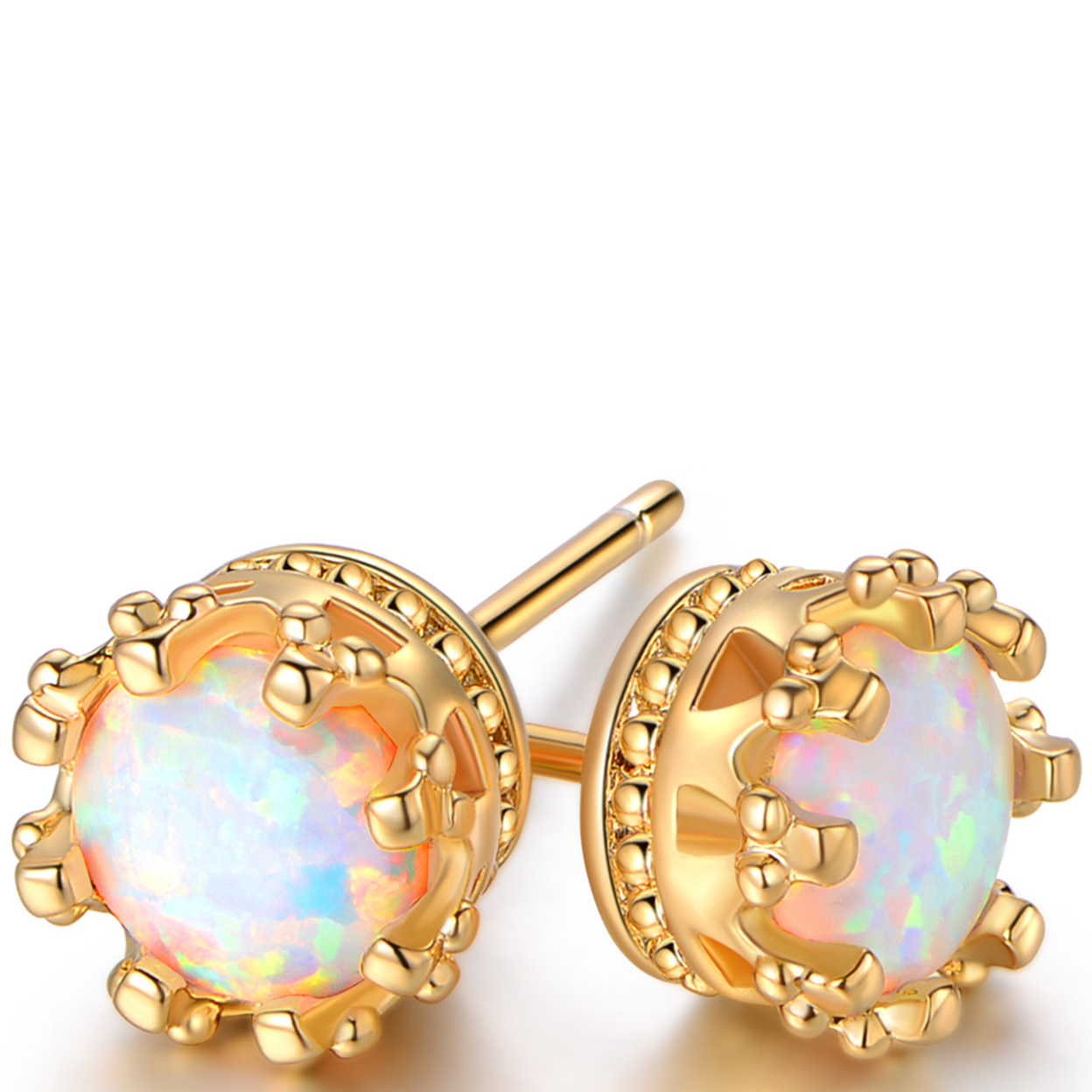 18k Gold Plated 7mm Opal Crown Stud Earrings Er5077-g-19
