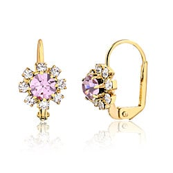 18k Gold Plated Clear and Light Purple Crystal Flower Huggie Earrings ER127-23