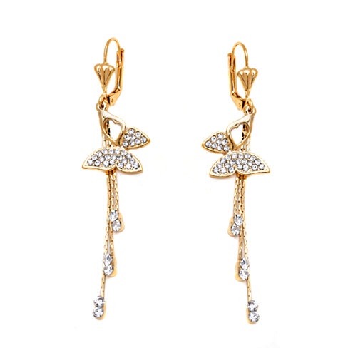 18k Gold Plated Gold and Crystal Butterfly and Tassel Drop Earrings
