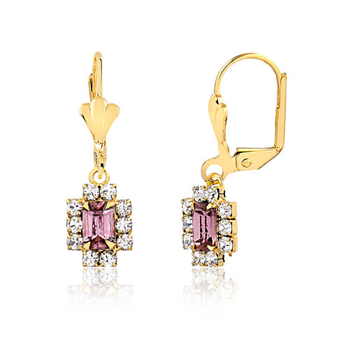 18K Gold Plated Gold and Light Amethyst Crystal Rectangle Frame Drop Earrings ER125-23