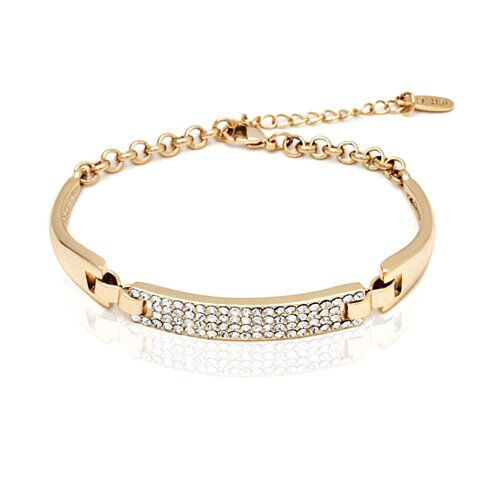 18K Gold Plated Gold and White Swarovski Elements Block Bracelet (BA1150)