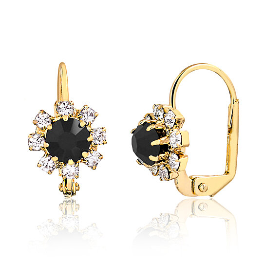 62e127600 Trending product! This item has been added to cart 43 times in the last 24  hours. 18K Gold Plated Onyx and Clear Crystal Flower Huggie Earrings ...
