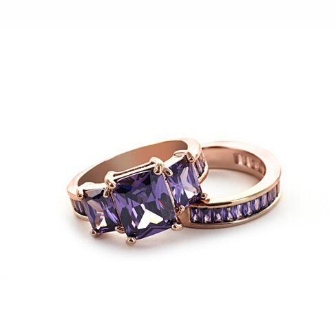 18K Gold Plated Purple & White Cubic Zirconia Ring Set R1807