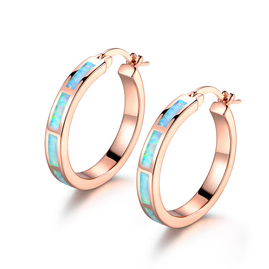 Gold Plated Rose And Lab Created Opal Hoop Earrings By Sgs International On Opensky