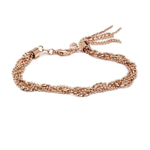 Rose Gold Ball and Snake Link Chain Braided Bracelet with Tassel Charm