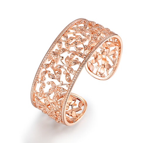 Rose Gold Plated Diamond Accent Filigree Leaf Cuff Bangle