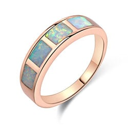 18K Rose Gold Plated Fire Opal Eternity Band R1687-19