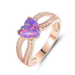 Rose Gold Plated Heart-Cut Opal & Cubic Zirconia Ring