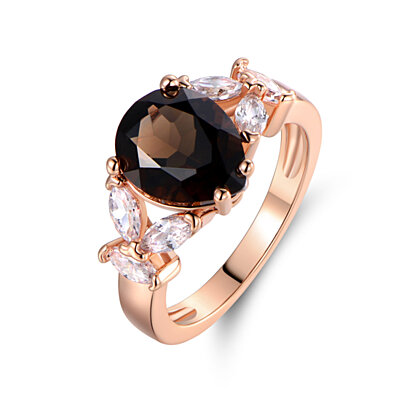 18K Rose Gold Plated Smokey Topaz & Cubic Zirconia Ring R1804
