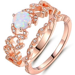 18K Rose Gold Plated White Fire Opal & Cubic Zirconia Bridal Ring Set R1725