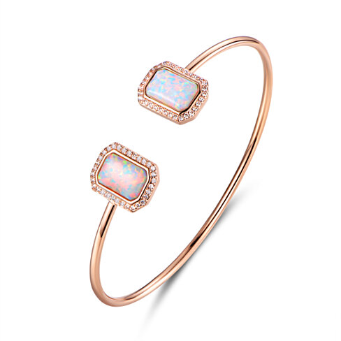 18K Rose Gold Plated White Fire Opal & Cubic Zirconia Open Cuff  BA1450-R