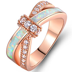 18K Rose Gold Plated White Fire Opal & CZ Crisscross Engagement Ring R1663-19-R