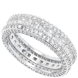 18K White Gold 7CTW French-Cut CZ Eternity Band RET1003