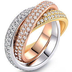 18K Gold Plated Swarovski Crystal Triple-Tone Rolling Ring (R1577-3T)