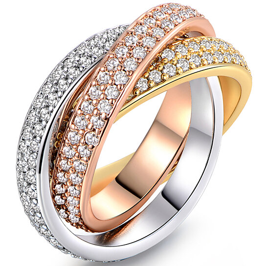 9105300e3 Buy 18K Gold Plated Swarovski Crystal Triple-Tone Rolling Ring (R1577-3T)  by SGS International on OpenSky