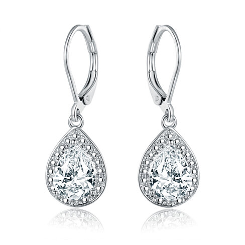 18K White Gold Plated 4.15CTTW White Topaz & Diamond Accent Drop Earrings ER5157-01