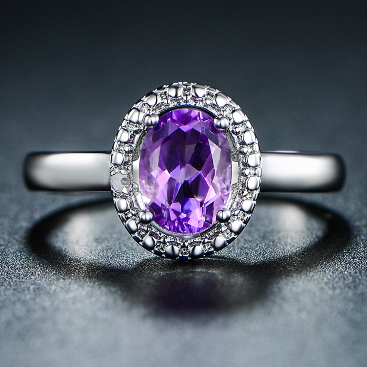 18k White Gold Plated 4ct. Purple Topaz & Diamond Accent Ring 5