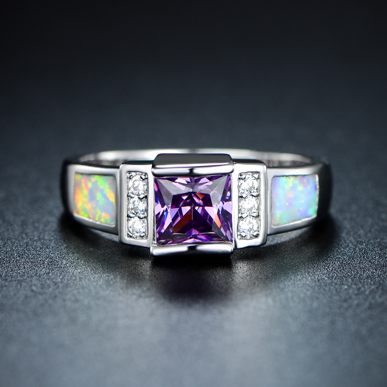 18k White Gold Plated Amethyst & Fire Opal Ring 5