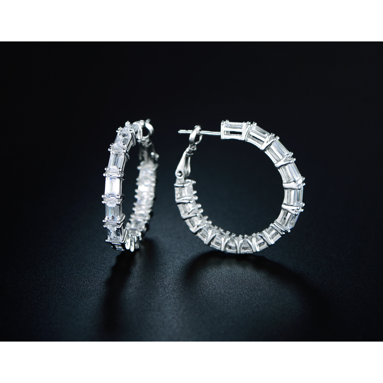 18k White Gold Plated And Russian Cz Emerald-cut Hoop Earrings