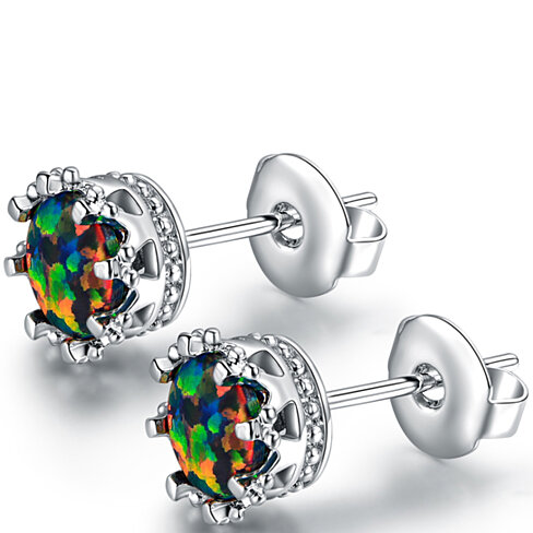 18K White Gold Plated Black Opal 7mm Stud Earrings (ER5077-17)