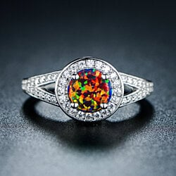 18K White Gold Plated Black Opal Ring