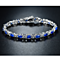 White Gold Sapphire & Diamond Accent Tennis Bracelet