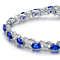Diamond and Blue Sapphire Tennis Bracelet in 18K White Gold