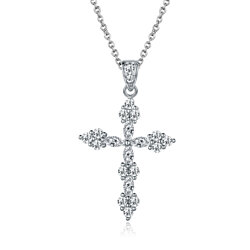 White Gold Plated Diamond Cross Pendant Necklace
