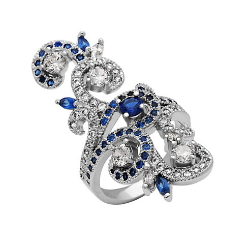 18K White Gold Plated & Cubic Zirconia Statement Ring