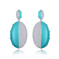 18K White Gold Plated CZ & Turquoise Enamel Drop Earrings