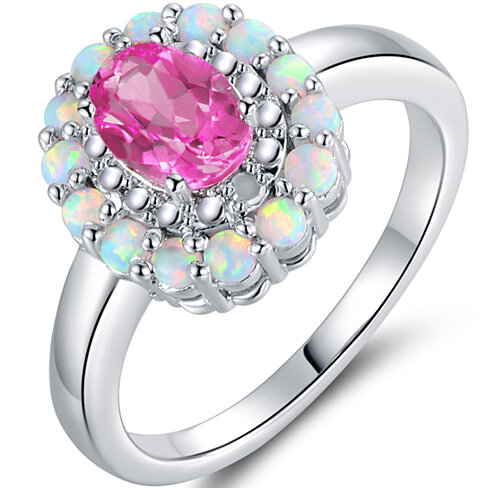 18K White Gold Plated Diamond Fire White Opal & Pink Sapphire Ring R1627-07