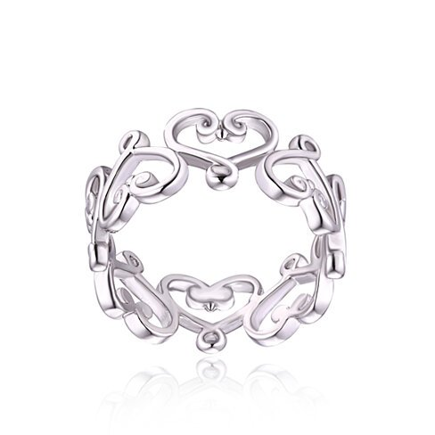 18K White Gold Plated Filigree Heart Ring (R1595)