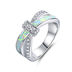 18K White Gold Plated & Fire Opal CZ Crisscross Ring