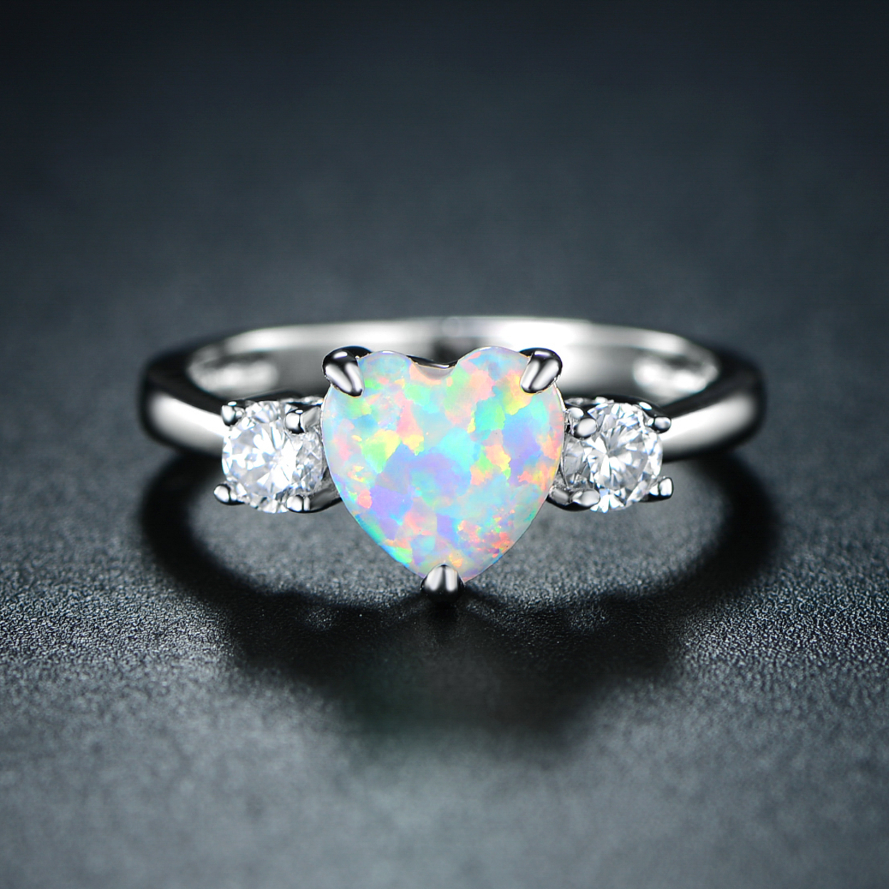 18k White Gold Plated Fire Opal & Heart-cut Cubic Zirconia Ring R1764-s Size 5